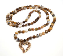 Load image into Gallery viewer, Long Heart Gemstone Yoga Necklace