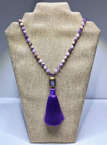 Hand Knotted Amethyst Tassel Necklace