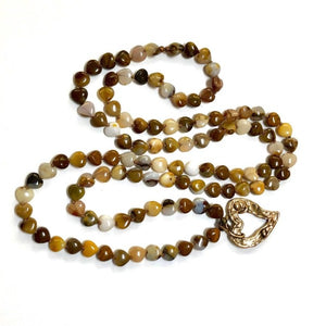 Long Heart Gemstone Yoga Necklace