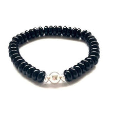 Load image into Gallery viewer, Onyx and Sterling Silver Bracelet