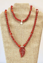 Load image into Gallery viewer, Carnelian Orange and Silver Yoga Necklace