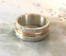 Load image into Gallery viewer, Silver and Gold Textured Wedding Band - One of a Kind