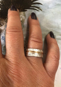 Silver and Gold Textured Wedding Band - One of a Kind