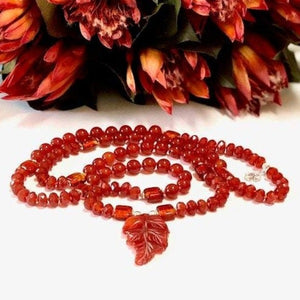 Carnelian Orange and Silver Yoga Necklace