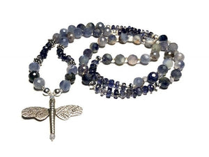 Hand Knotted Iolite and Sterling Silver Dragonfly Mala Necklace