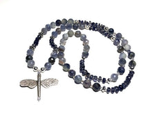Load image into Gallery viewer, Hand Knotted Iolite and Sterling Silver Dragonfly Mala Necklace
