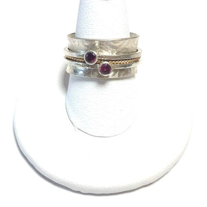 Red Garnet, Gold and Sterling Silver Meditation Spinner Ring