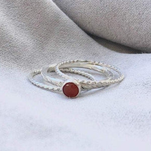 Carnelian Stacking Ring Set