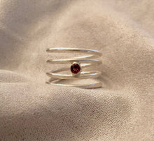 Load image into Gallery viewer, Garnet Sterling Silver Wrap Ring