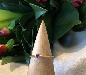 Slim gold gemstone ring