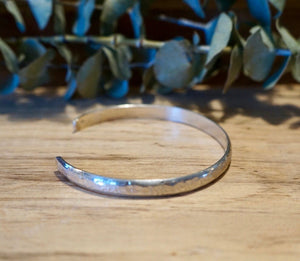 Heavy Solid Sterling Silver Cuff Bracelet - 6mm Wide