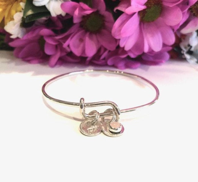 Adjustable Bangle Charm Bracelet, Have it Personalized