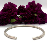 Load image into Gallery viewer, Solid Sterling Silver Matte Cuff Bracelet - 3mm Round