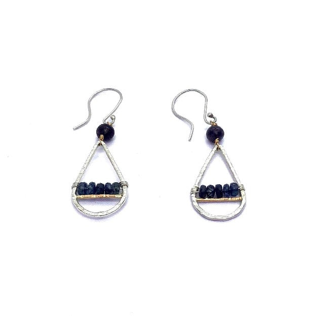 Genuine Blue Iolite Dangle Drop Silver and Gold Earrings