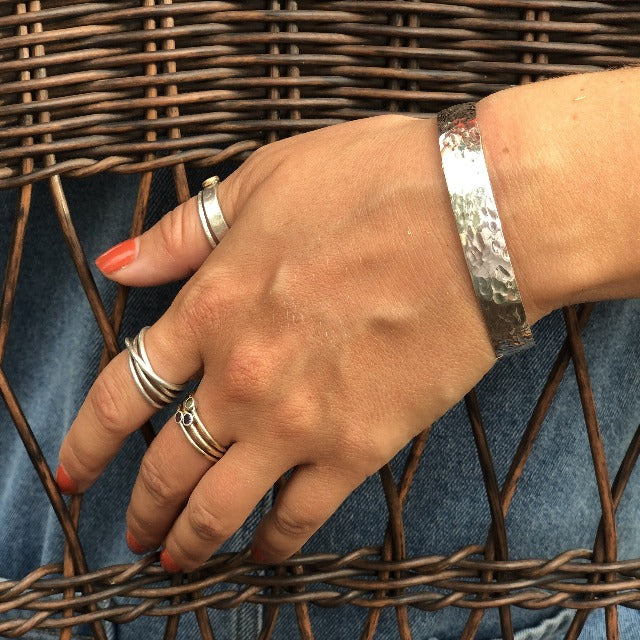 Wide Textured 925 Sterling Silver Cuff Bracelet - 10.5mm Wide