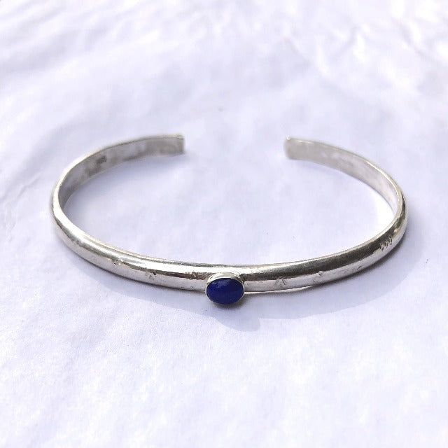 Solid Sterling Silver and Genuine Lapis Lazuli Gemstone Cuff Bracelet - 4 mm Wide