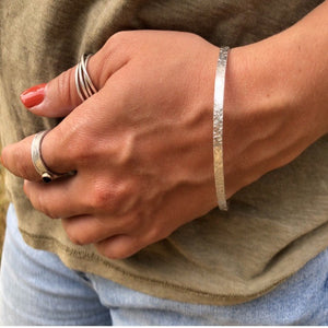 Unisex Hammered Cuff Sterling Silver Bracelet - 4.2mm Wide