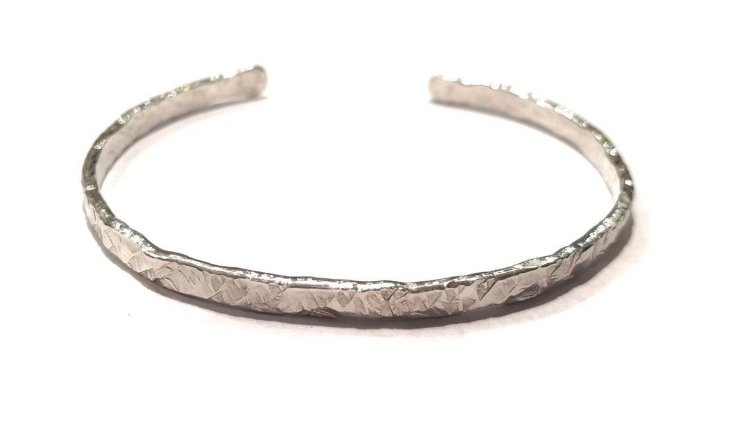 Sterling Silver Thick Hammered Cuff Bracelet - 4.4mm Wide