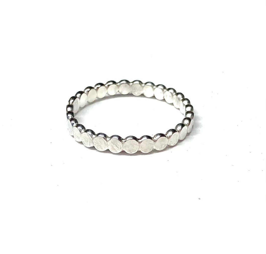 Sterling Silver Ring, Dainty Flat Bead