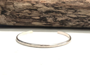 Personalized Sterling Silver Textured Cuff - 4 mm Wide