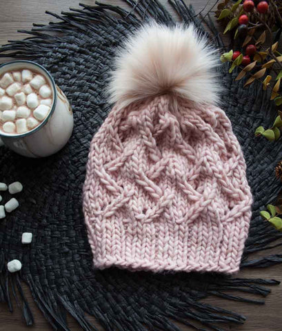 beautiful handdyed yarn pink knit hat with pom