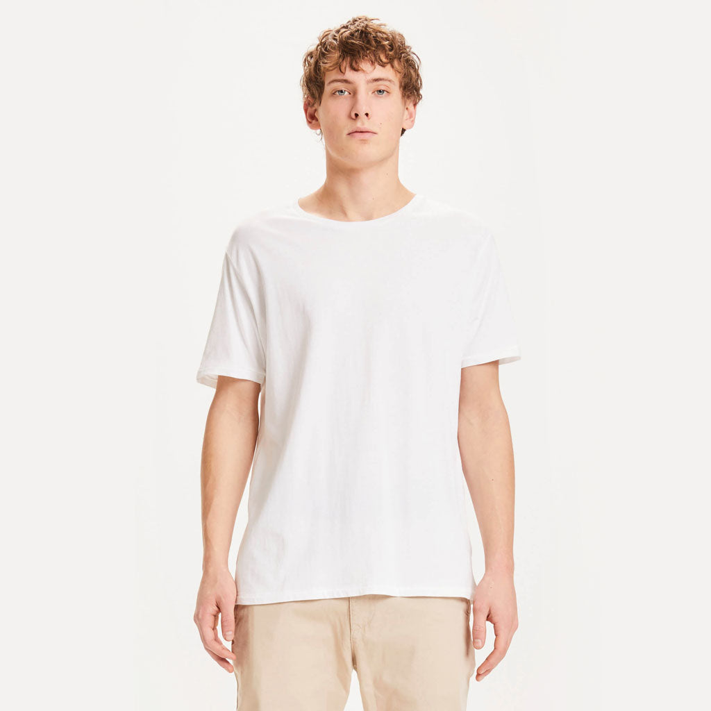 Knowledge Cotton Apparel Basic T-Shirt Weiss