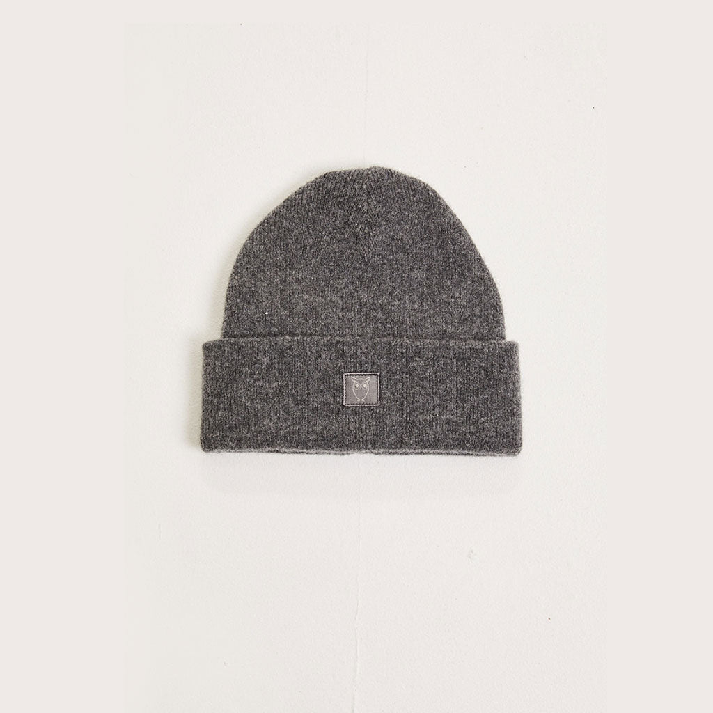 Knowledge Cotton Apparel Organic Wool Beanie Grey