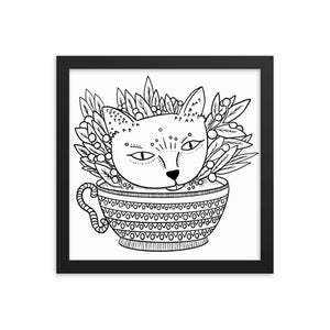 Tea-Cat Framed Poster
