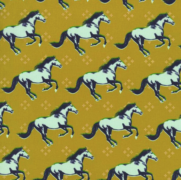 Gallop in Gold- Mustang by Melody Miller for Cotton & Steel- The Haberdashery