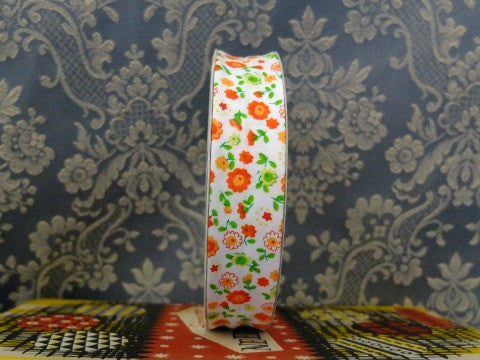Orange Flowered Bias Binding- The Haberdashery