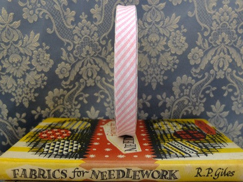 Pink Candy Stripe Bias Binding- The Haberdashery