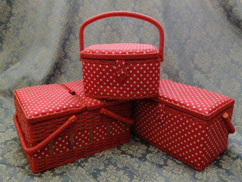 Red Spot Sewing Baskets- The Haberdashery