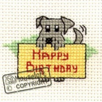 Happy Birthday Dog Card Cross Stitch