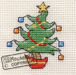 Jolly Tree Green Card Christmas Card Cross Stitch