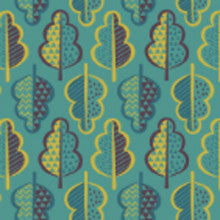 New Forest Green Retro Leaves- Lewis & Irene- The Haberdashery