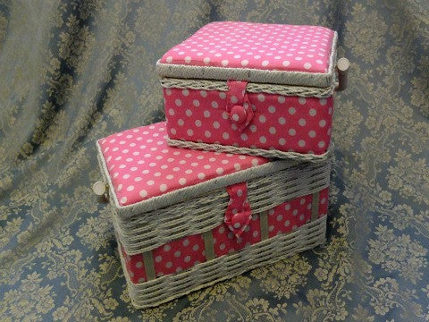 Pink Spotty Sewing Baskets- The Haberdashery