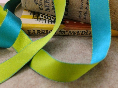 Reversible Stitch Ribbon Turquoise and Green- The Haberdashery