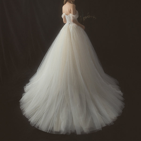 A-Line Court Train Tulle Wedding Dress with Detachable Wrap