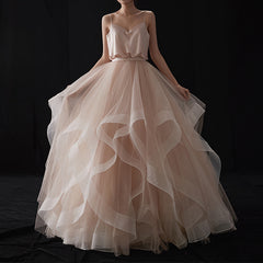 A-Line Sweep-Brush Train Ruffles Tulle Wedding Dress