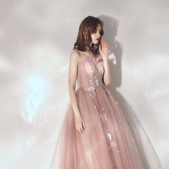 A-Line Ankle-length Tulle Dress with Appliques