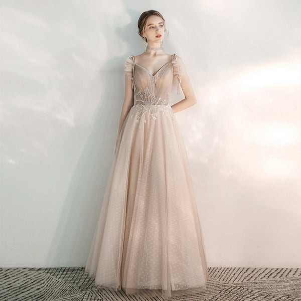 A-Line Ankle-length Tulle Dress with Polka Dot