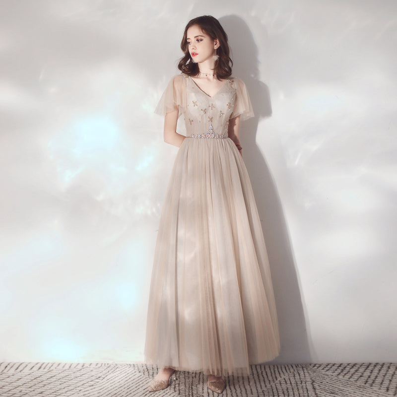 A-Line Ankle Length Tulle Dress with Sashes