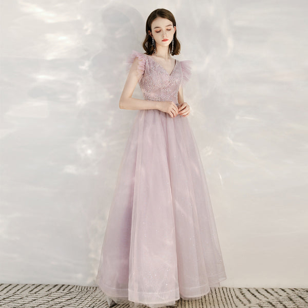 A-Line Ankle-length Tulle Wedding Dress with Sequins