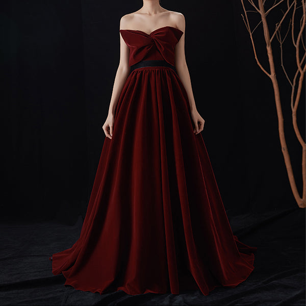 A-Line Court Train Silk Velvet Bridesmaid Dress