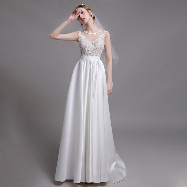 A-Line Court Train Stain Wedding Dress with Pleating