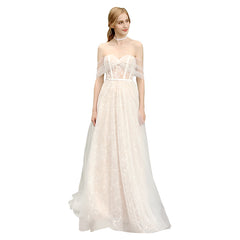 A-Line Court Train Tulle and Lace Wedding Dress with Bowknot