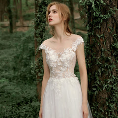 A-Line Court Train Tulle and Lace Wedding Dress with Appliques