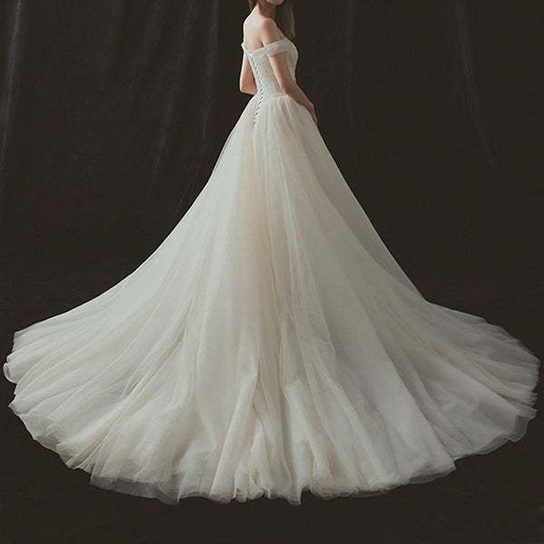 A-Line Court Train Tulle Wedding Dress