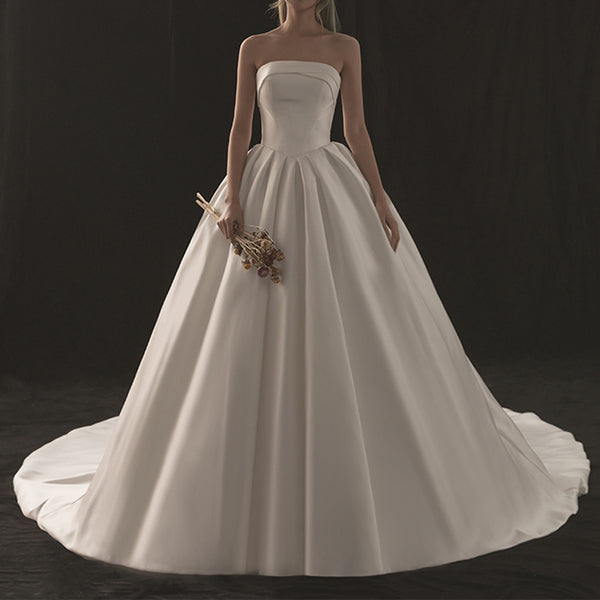 A-Line Court Train Satin Wedding Dress