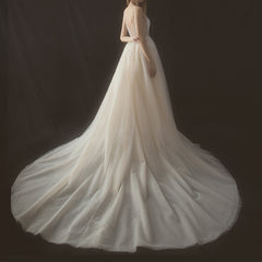 A-Line Court Train V-Neck Tulle Wedding Dress